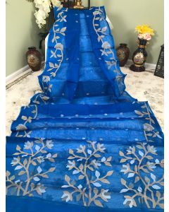 Pure Muslin in Royal Blue with Jamdani Work