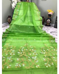 Pure Muslin in Parrot Green with Jamdani Work