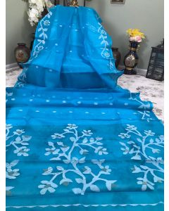 Pure Muslin in Light Blue/ Firoza with Jamdani Work