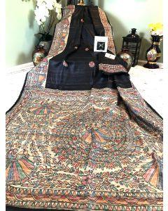 Hand painted Madhubani work on pure Handloom Black Tussar- Ghicha Silk