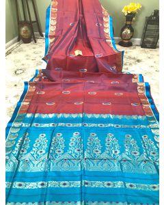 Bishnupuri Sonamukhi Gorod silk in dual tones of Red and Blue
