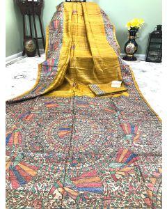 Hand Painted Madhubani Work on Pure Mustard Tussar Ghicha Silk