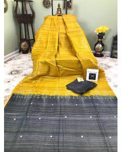 Yellow Tussar - Ghicha Silk Mirror Work with Charcoal Pallu