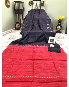 Black Tussar - Ghicha Silk Mirror Work with Red Pallu