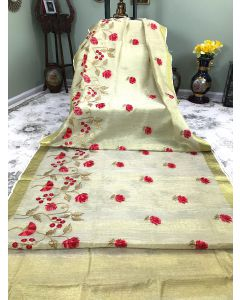 Tissue Linen in Cream with Dark Red Floral Embroidery and Golden Zari Border