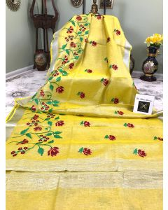 Tissue Linen in Yellow with Floral Embroidery and Silver Zari Border