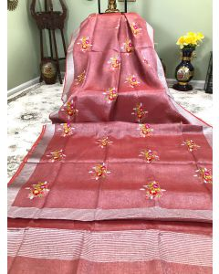 Tissue Linen in Chocolate with Floral Embroidery and Silver Zari Border