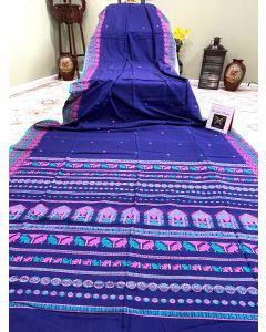 Cotton Dolabedi in Dark Blue with Pink/ Firozi Border
