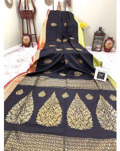 Khadi Cotton-silk in Black with Pink/Green Border and  Golden Zari