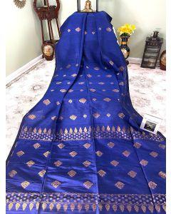 Organic Linen with Copper Zari Work in Blue