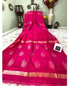 Matka Silk with Golden Zari Work in Pink