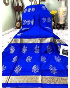 Matka Silk with Golden Zari Work in Blue