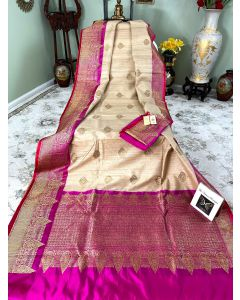 Banaras Handloom Tussar Silk in Natural with Rani Border Pallu