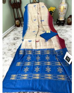 Chhattisgarh Handloom Tussar Silk with Red/ Blue Borders