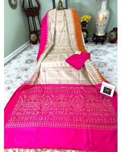 Chhattisgarh Handloom Tussar Silk with Pink/ Rust Borders