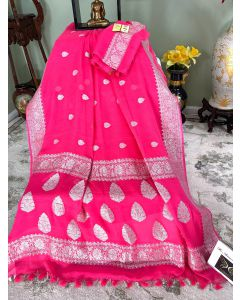 Banarasi Pure Khaddi Chiffon Silk with Silver Zari Work in Rose Pink