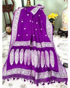 Banarasi Pure Khaddi Chiffon Silk with Silver Zari Work in Purple