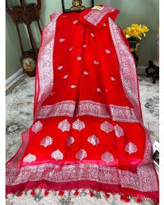 Banarasi Pure Khaddi Chiffon Silk with Silver Zari Work in Red