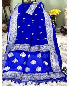 Banarasi Pure Khaddi Chiffon Silk with Silver Zari Work in Royal Blue - 2