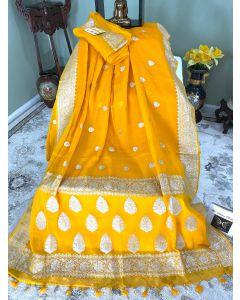Banarasi Pure Khaddi Chiffon Silk with Silver Zari Work in Yellow