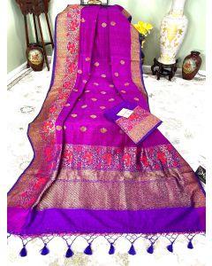 Banaras Handloom Dupion Katan Silk in Magenta with Meenakari Border Pallu