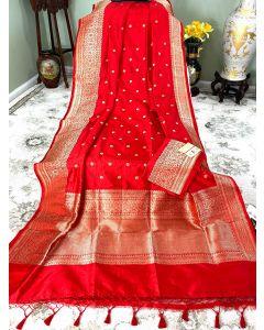 Banaras Handloom Katan Silk in Bridal Red