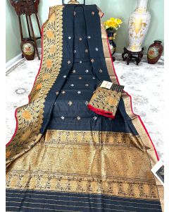 Banaras Handloom Tussar Silk in Black with Meenakari Border Pallu