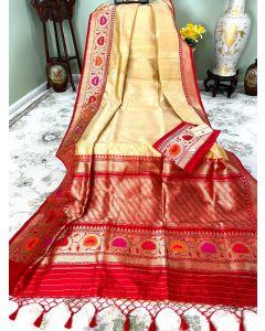 Banaras Handloom Tussar Silk in Cream with Meenakari Red Border Pallu