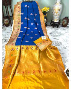 Banaras Handloom Tussar Silk in Royal Blue with Meenakari Yellow  Border Pallu