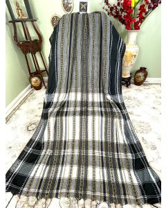 Grey Cotton Dhaniakhali with Black and White Stripes