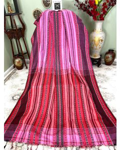 Pink Cotton Dhaniakhali with Black and Red Stripes