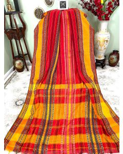 Red Cotton Dhaniakhali with Red and Yellow Stripes