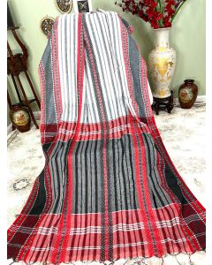 White Cotton Dhaniakhali with Red and Black Stripes