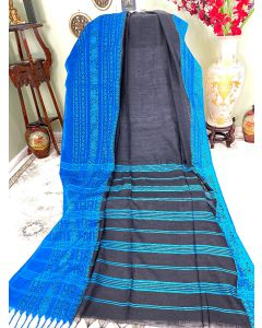 Cotton Begumpuri in Black with Blue Border