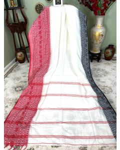 Cotton Begumpuri in White with Red/Black Border