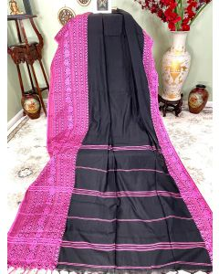 Cotton Begumpuri in Black with Pink Border