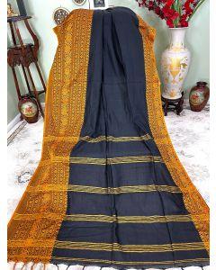 Cotton Begumpuri in Black with Mustard Border