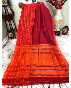 Cotton Begumpuri in Maroon with Orange Border