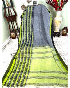 Cotton Begumpuri in Grey with  Black/Green Border