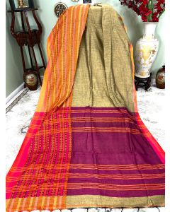 Cotton Begumpuri in Snuff with Orange Border