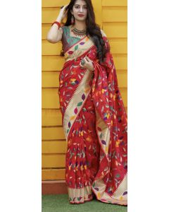 Banaras Fancy Silk in Red with Multicolored Meena Leaves