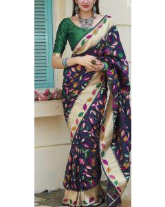 Banaras Fancy Silk in Navy Blue with Multicolored Meena Leaves