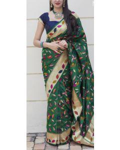 Banaras Fancy Silk in Dark Green with Multicolored Meena Leaves